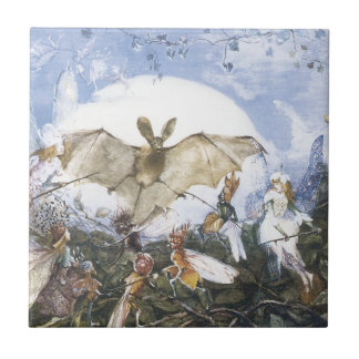 Vintage Fairies Attacking A Bat Tiles
