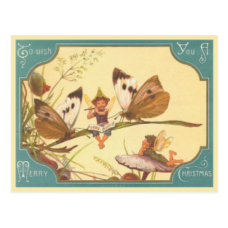 """Vintage Fairies Christmas Card"" Postcard"