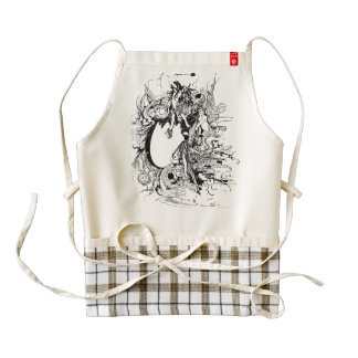 Vintage Fairies Magic Illustration Antique Ink Art Zazzle HEART Apron