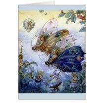 Vintage Fairies Riding Butterflies -
