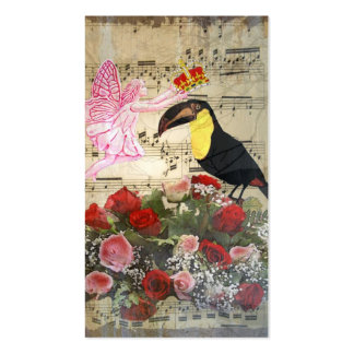 Vintage fairy and bird collage Double-Sided standard business cards (Pack of 100)
