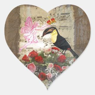 Vintage fairy and bird collage heart sticker
