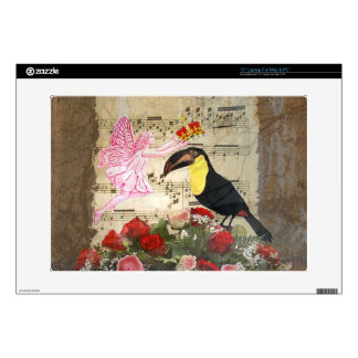 Vintage fairy and bird collage laptop skins