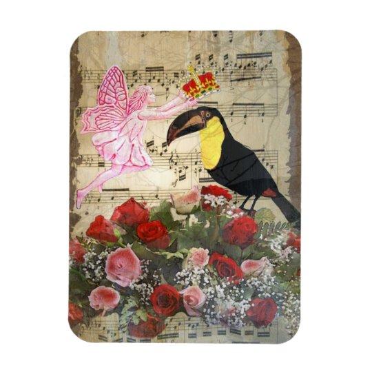 Vintage fairy and bird collage rectangular photo magnet
