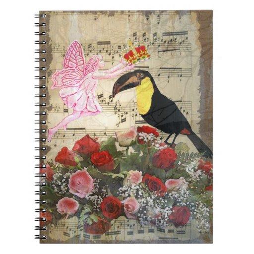 Vintage fairy and bird collage spiral note book