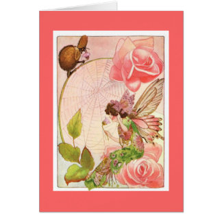Vintage Fairy and Spider Friend Card