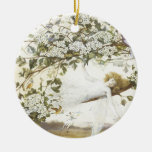 Vintage Fairy Ariel 1858 Double-Sided Ceramic Round Christmas Ornament