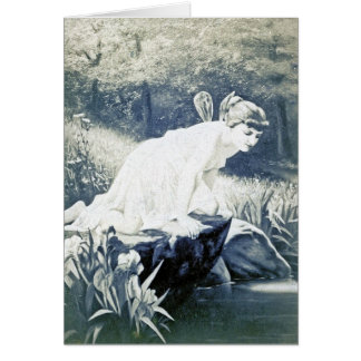 Vintage - Fairy At The Waters Edge Greeting Card