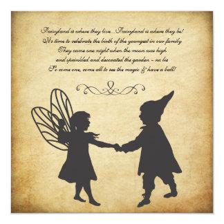 Vintage Fairy & Gnomes Birthday Garden Tea Party 5.25x5.25 Square Paper Invitation Card