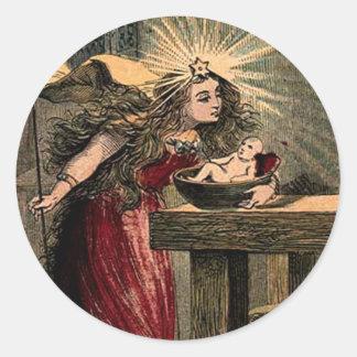 Vintage Fairy Godmother Classic Round Sticker