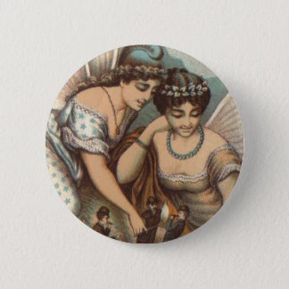 Vintage Fairy Ladies Lighting Cigars 4 Little Men Pinback Button