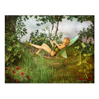 Vintage Fairy on a Swing Postcard