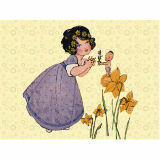 Vintage Fairy Sprite and Daffodils Cutout