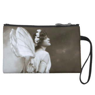 Vintage Fairy Sueded Mini Clutch Wristlet Purse