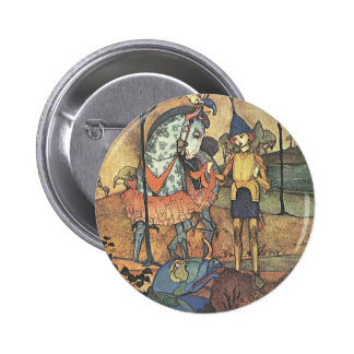 Vintage Fairy Tale, A Brave Knight and Dragon Button