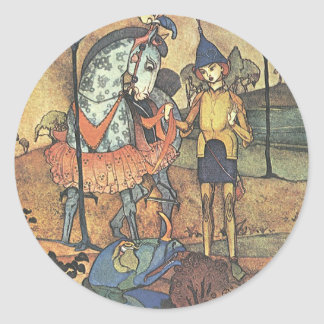 Vintage Fairy Tale, A Brave Knight and Dragon Classic Round Sticker