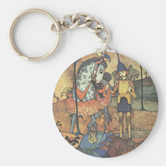 Vintage Fairy Tale, A Brave Knight and Dragon Keychain