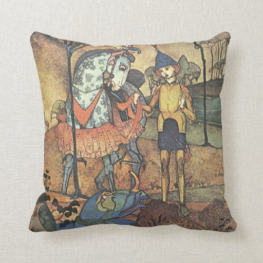 Vintage Fairy Tale, A Brave Knight and Dragon Throw Pillows