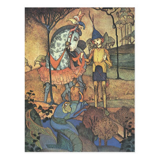 Vintage Fairy Tale, A Brave Knight and Dragon Post Cards