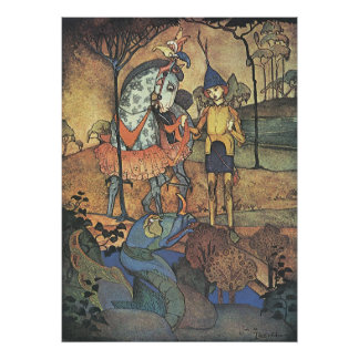 Vintage Fairy Tale, A Brave Knight and Dragon Poster