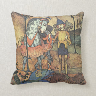 Vintage Fairy Tale, A Brave Knight and Dragon Throw Pillow