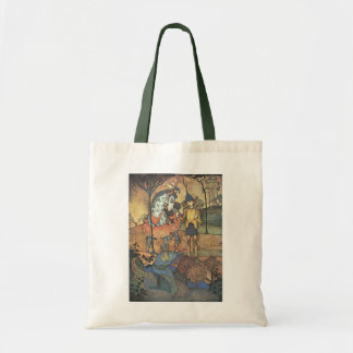Vintage Fairy Tale, A Brave Knight and Dragon Tote Bag