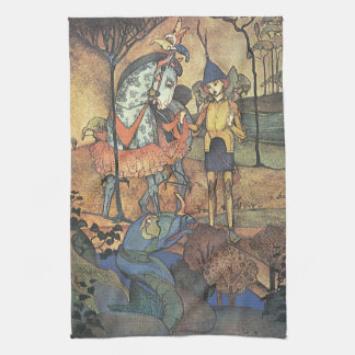Vintage Fairy Tale, A Brave Knight and Dragon Towel