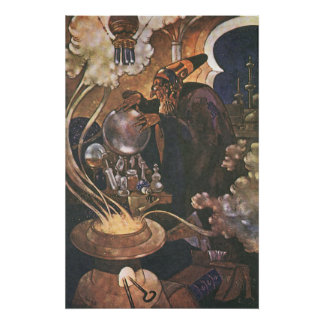 Vintage Fairy Tale, Aladdin and the Magic Lamp Poster