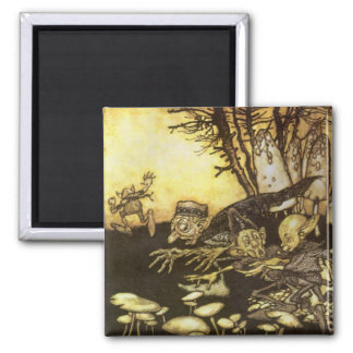 Vintage Fairy Tale, Band of Workmen by Rackham 2 Inch Square Magnet