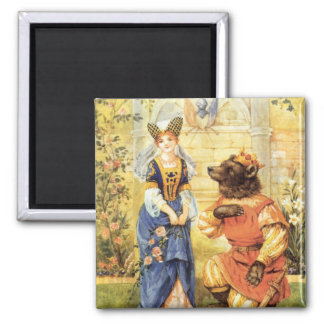 Vintage Fairy Tale, Beauty and the Beast 2 Inch Square Magnet