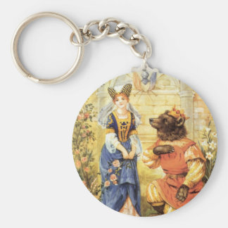 Vintage Fairy Tale, Beauty and the Beast Basic Round Button Keychain
