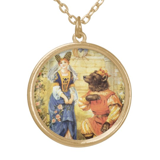 Vintage Fairy Tale, Beauty and the Beast Gold Plated Necklace