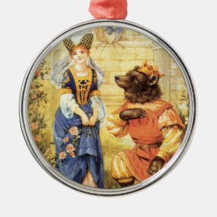 vintage fairy tale beauty and the beast metal ornament