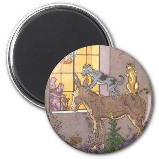 Vintage Fairy Tale, Bremen Town Musicians, Hauman 2 Inch Round Magnet