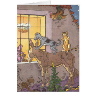 Vintage Fairy Tale, Bremen Town Musicians, Hauman Greeting Card
