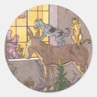 Vintage Fairy Tale, Bremen Town Musicians, Hauman Classic Round Sticker