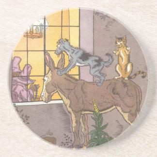 Vintage Fairy Tale, Bremen Town Musicians, Hauman Drink Coaster
