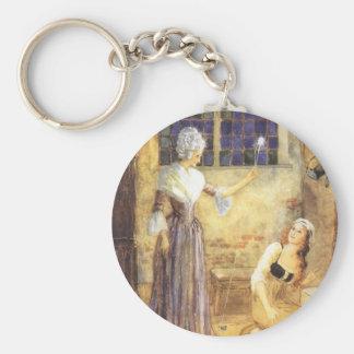 Vintage Fairy Tale, Cinderella and Fairy Godmother Basic Round Button Keychain