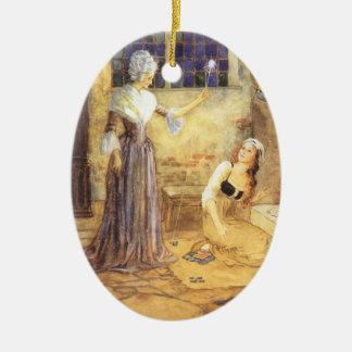 Vintage Fairy Tale, Cinderella and Fairy Godmother Ceramic Ornament