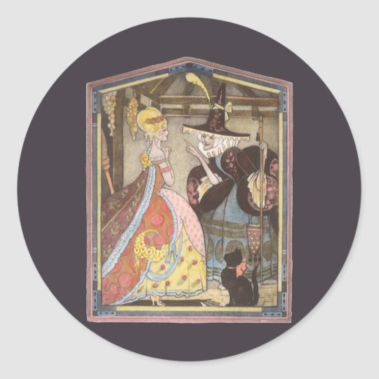 Vintage Fairy Tale, Cinderella and Fairy Godmother Classic Round Sticker