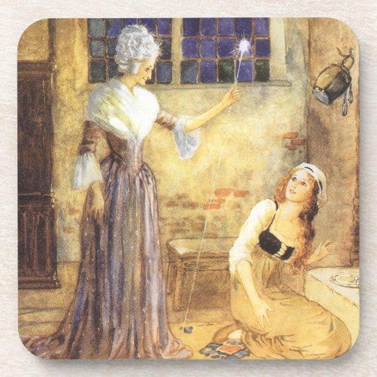 Vintage Fairy Tale, Cinderella and Fairy Godmother Coaster