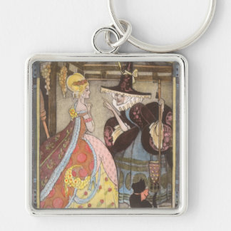 Vintage Fairy Tale, Cinderella and Fairy Godmother Silver-Colored Square Keychain