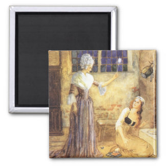 Vintage Fairy Tale, Cinderella and Fairy Godmother Fridge Magnets