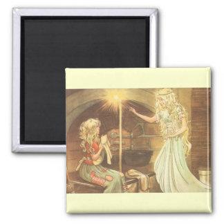 Vintage Fairy Tale, Cinderella and Fairy Godmother Fridge Magnet