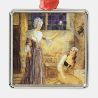 Vintage Fairy Tale, Cinderella and Fairy Godmother Metal Ornament
