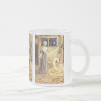 Vintage Fairy Tale, Cinderella and Fairy Godmother 10 Oz Frosted Glass Coffee Mug