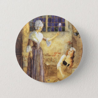 Vintage Fairy Tale, Cinderella and Fairy Godmother Pinback Button