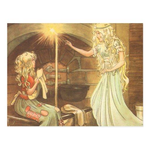 Vintage Fairy Tale, Cinderella and Fairy Godmother Postcard