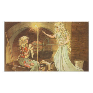 Vintage Fairy Tale, Cinderella and Fairy Godmother Poster