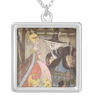 Vintage Fairy Tale, Cinderella and Fairy Godmother Silver Plated Necklace